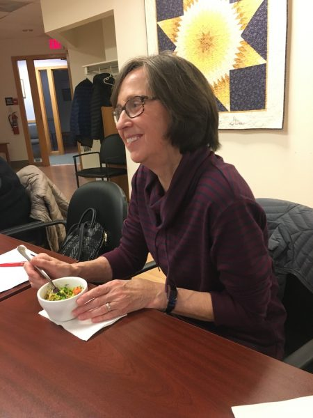 Patty Merrill eating quinoa bowl