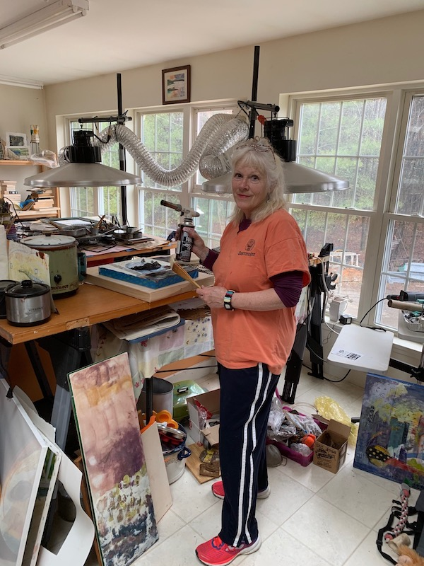 Anne Strout, artist, working in her studio
