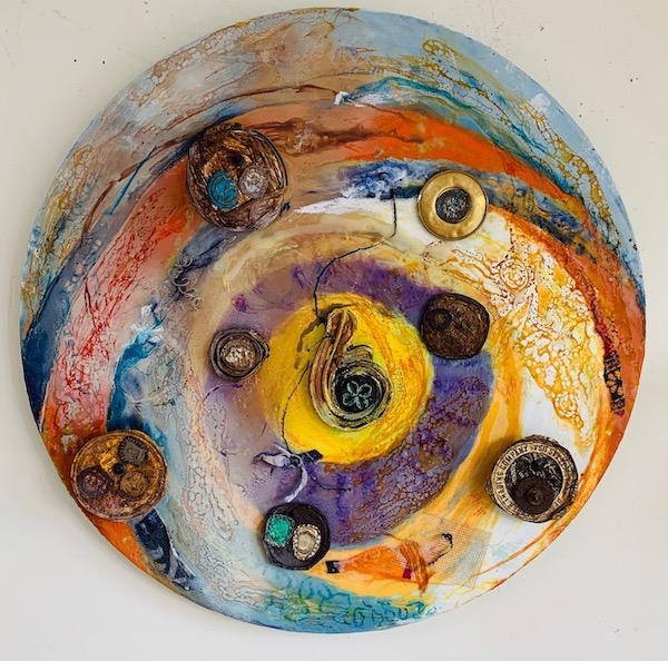 Living on the Tilt-a-Whirl encaustic