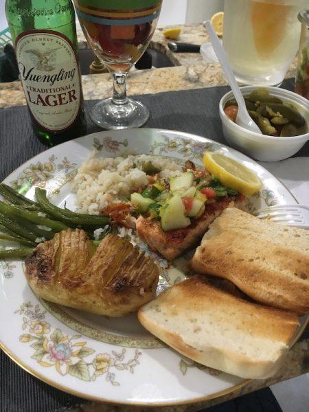 Salmon, mango salsa and roasted potatoes