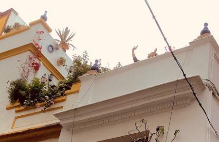 Spanish rooftop people waving