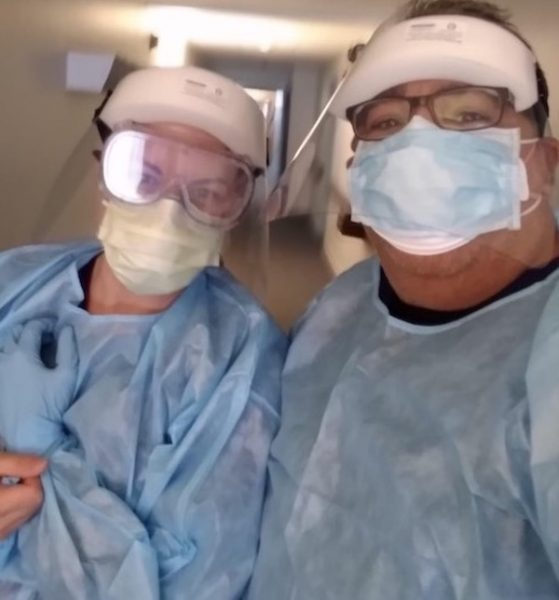Hannah and RN in protective gear