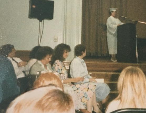 Rhonda speaking at graduation