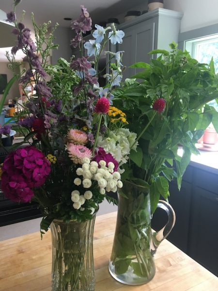 Flowers and basil