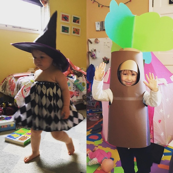 Grand daughters in costumes