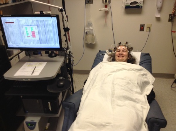 Amy Stacey Curtis having EEG