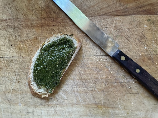 Pesto on bread